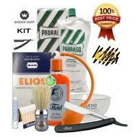Kit Rasatura Professionale Old Style Barber Shop - Rasoio Mano Libera