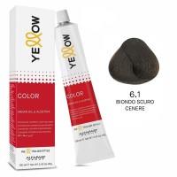 Yellow Color Permanent - Argan Oil & AloeTrix - 6.1 Biondo Scuro Cenere - 100 ml - Alfaparf