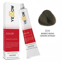Yellow Color Permanent - Argan Oil & AloeTrix - 7.11 Biondo Medio Cenere Intenso - 100 ml - Alfaparf