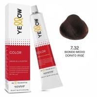 Yellow Color Permanent - Argan Oil & AloeTrix - 7.32 Biondo Medio Dorato Irisé - 100 ml - Alfaparf